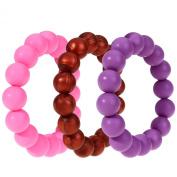MyBoo Autism/Sensory/Teething Chewable Beads Bracelet - Set of 3, Purple/Pink/Metallic Red