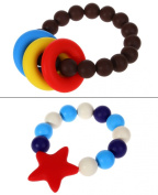 MyBoo Autism/Sensory/Teething Chewable Beads Ring and Star Bracelet Bundle - Set of 2, Brown/Red
