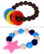 MyBoo Autism/Sensory/Teething Chewable Beads Ring and Star Bracelet Bundle - Set of 2, Brown/Pink