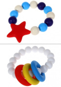 MyBoo Autism/Sensory/Teething Chewable Beads Ring and Star Bracelet Bundle - Set of 2, White/Red
