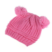Yoyorule Cute Baby Kids Girl Boy Dual Balls Warm Winter Knitted Cap Hat Beanie