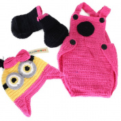 Crochet Baby Girl Minions Hat Overalls Boots Halloween Costume Photography Prop