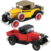 (Set of 2) Ford 1928 Roadster Pickup & 1929 Cabriolet 1/32 Die Cast Models