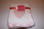Isaac Mazrahi Super Soft Baby Blanket Pink Heart on White Blanket
