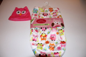 Little Beginnings Swaddle Set with Bonus Hat Pink Owls 0-3 Months
