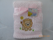 Emroideried Baby Lion on Plush Baby Blanket
