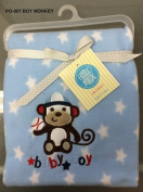 Soft and Large Baby Boy Blanket Tummy Time or Swaddle Blanket Monkey Playing Baseball By Simplicity Designs