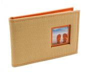 BorderTrends Beach 40-Pocket Rattan Cover Photo Album, Orange