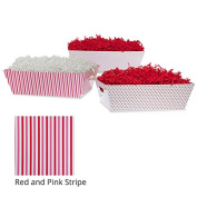 Large Valentine Gift Tray Basket - Red and Pink Stripe