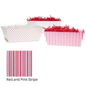 Small Valentine Gift Tray Basket - Red and Pink Stripe