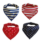 Ti Bab Baby Bandana Drool Cotton Bibs with Snaps- Unisex Gift Set of 4