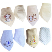 Cren® 4pcs two-sided Bandana Drool Bibs Absorbent Cotton Cute Baby Gift for Boys & Girls
