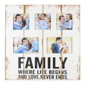 """Original """"Family"""" Rustic White Wooden Collage Photo Frame By Haysom Interiors"""