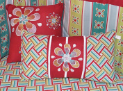Red Graphic Floral embroidered Cotton Accent Pillows by DK Leigh