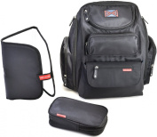 Bag Nation Nappy Bag Backpack (Black) - 12 Pockets - Free Changing Pad & Sundry Bag Included