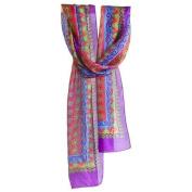 Natural Life Silk Head Wrap, Border, Magenta/Purple by Natural Life