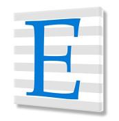 "Stretched Canvas Print Blue Letter ""E"" Monogram Letters Nursery Wall Art VWAQ-159E"