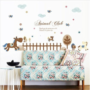 Dnven (150cm w X 80cm h) Animal Club Happy Animals Wooden Horse Playground Peel and Stick Removable Vinyl Wall Stickers Decals for Kids Room Children Rooms Nursery