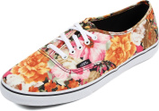 Vans Girls Authentic Lo Pro Floral Coriander True White Sneakers Kids Size 10.5