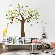 Delma PVC Wall Sticker Home Decoration Nursery Giraffe Tree Monkey Vinyl Decal