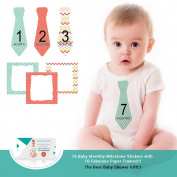 Zoe Hopkins Baby Monthly Stickers Necktie Tie Baby Boy Months 1-12 Plus 4 Bonus Milestones and 16 Frames