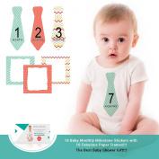 Zoe Hopkins Baby Monthly Stickers Necktie Tie Baby Boy Months 1-12 Plus 4 Bonus Milestones and 16 Frames