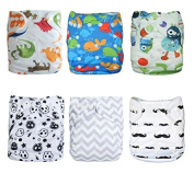 Naturally Nature Cloth Nappy 6pcs Pack Washable Adjustable Fits 2.7-15kg with 12 Inserts