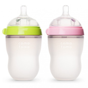 Comotomo Baby Bottle, Green/Pink, 240ml, 2 Count