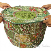 60cm GREEN ROUND PATCHWORK EMBROIDERED OTTOMAN pouffe BOHEMIAN Indian Decorative