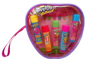 Shopkins Lip Balm 5 Scented Tubes in a Reusable Wristlet Gift Ser
