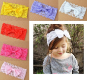 Onlineb2c Baby Girl's Cute Lace Bowknot Headband Hair Flower Hairband Stretch Turban Knot 6 Pack Mix Colour