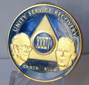 34 Year Ocean Breeze Blue & Gold Plated AA Founders Alcoholics Anonymous Medallion Chip Vinyl Protector