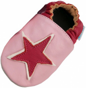 MiniFeet Soft Leather Baby Shoes, Pink Star