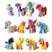 EALLC 12 Piece Set My Little Pony Cake Toppers Cupcake Toys Figurines Decoration for Life ornaments, Gift Giving US Delivery