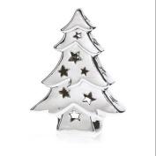 Pack of 2 Chrome Ceramic Tree Decorative Christmas Tea Light Candle Holders 20cm