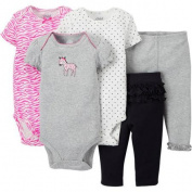 Child Of Mine by Carter's Newborn Baby Girl Bodysuit and Pant, 5-Piece Set