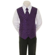 Kids Dream Purple Chequered Vest Formal Special Occasion Boys Suit 24M