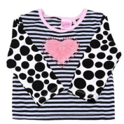 Lipstik Baby Girls Black White Dotted Striped Studded Heart Blouse Top 6M