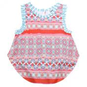 Counting Daisies Baby Girls Orange Kaleidoscope Sleeveless Onesie Bodysuit 9M