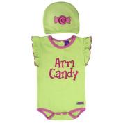 Sozo Baby Girls Pink Candy Print Cotton Flutter Sleeve Hat Bodysuit Set 12M