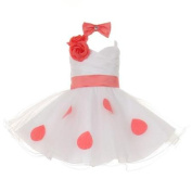 Baby Girls White Coral Polka Dots Bow Organza Flower Girl Dress 6M