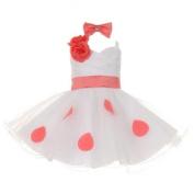 Baby Girls White Coral Polka Dots Bow Organza Flower Girl Dress 6M