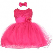 Baby Girls Fuchsia Sequin Tulle Ballerina Flower Girl Headband Dress 6M