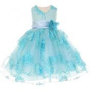 Baby Girls Aqua Blue Tulle Embroidery Sequins Flower Girl Easter Dress 3M