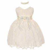 Baby Girls Ivory Lace Overlay Flower Sash Special Occasion Dress 3-24M