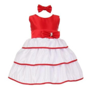 Baby Girls Red Bow Rhinestone Headband Special Occasion Dress 3M