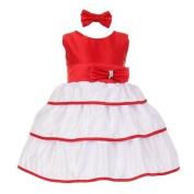 Baby Girls Red Bow Rhinestone Headband Special Occasion Dress 3M