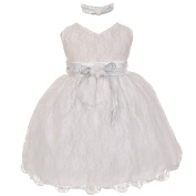 Baby Girls White Lace Overlay Flower Sash Special Occasion Dress 18M