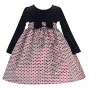 Lito Baby Girls Pink Stretch Velvet Bows Jacquard Christmas Dress 6-12M