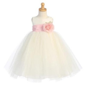 Lito Baby Girls Ivory Pink Sash Poly Silk Tulle Flower Girl Dress 18-24M